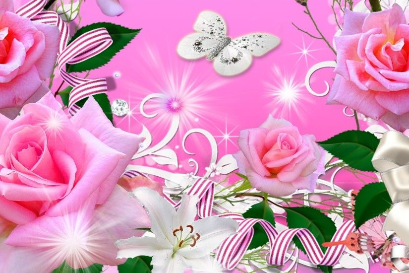 Leaves Tag - Flowers Pink Spring Butterfly Bright Ribbons Rose Leaves  Summer Animated Flower Wallpaper Download