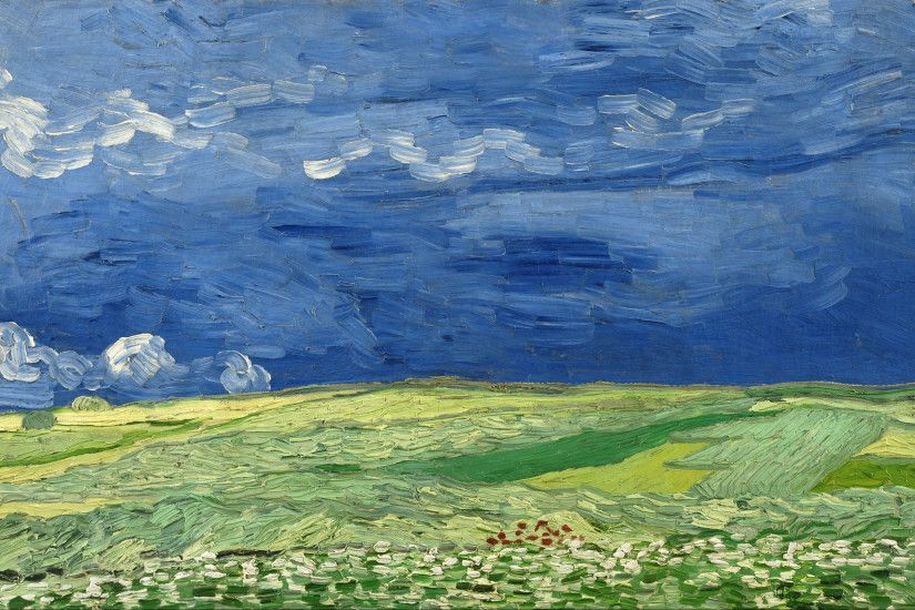 Gogh Field Blue Sky Wallpapers
