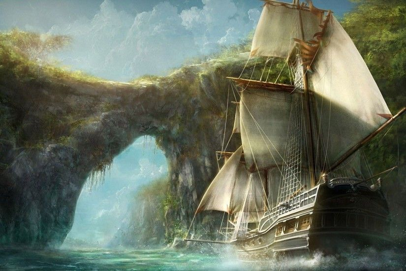 Medieval ship entering the island wallpaper - Fantasy wallpapers .