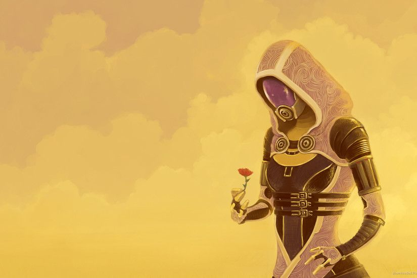 Mass Effect Tali with flower for 1920x1080