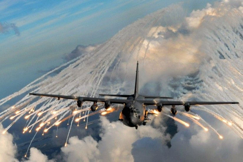 Pin Free Lockheed Ac 130 Shooting Flares Wallpaper For Ipad 2 on .