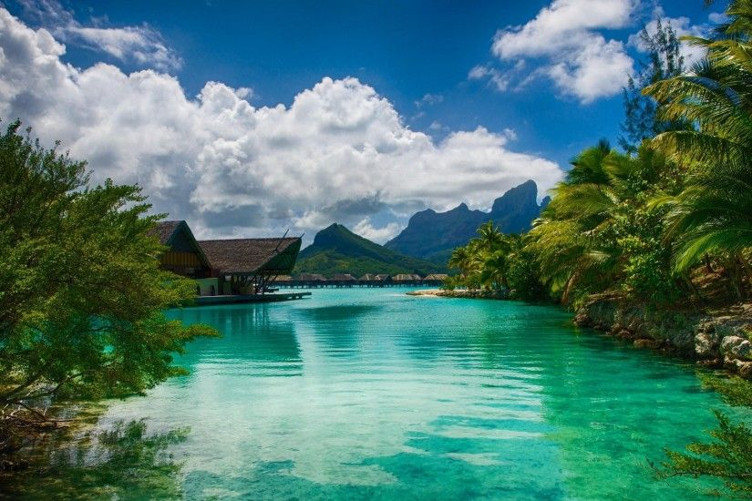 ... Tropical, Island, Mountain, Beach, Clouds, French Polynesia, Summer,  Vacations, Water, Turquoise Wallpapers HD / Desktop and Mobile Backgrounds