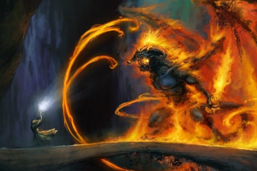 Fantasy - Lord Of The Rings Wizard Demon Gandalf Balrog Painting Wallpaper