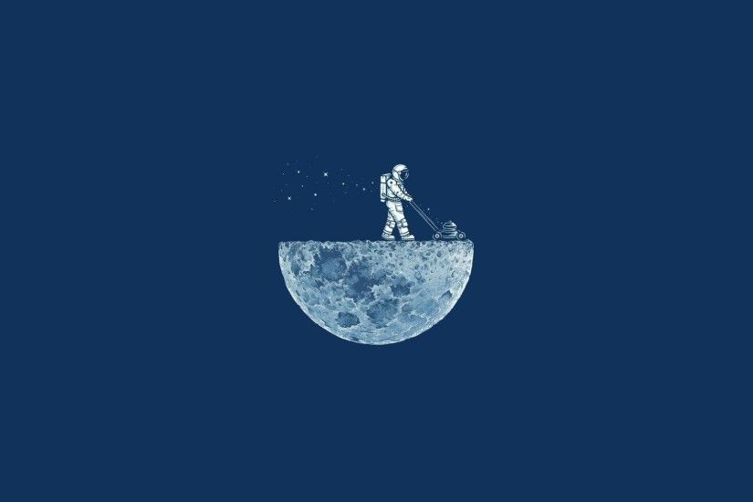 Astronaut Moon Lawnmower Desktop Wallpaper Uploaded by DesktopWalls