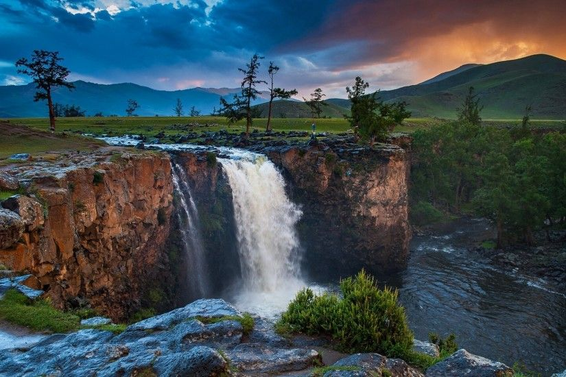 mongolia sky clouds clouds sunset river waterfall tree mountain nature