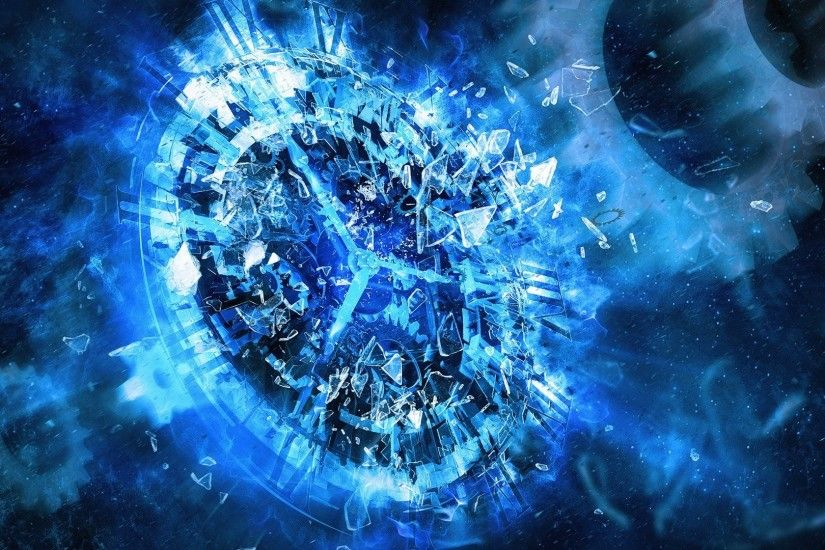 clocks, Digital Art, Gears, Time, Shattered, Broken Glass Wallpapers HD /  Desktop and Mobile Backgrounds