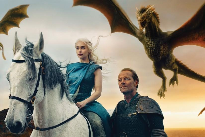 Preview wallpaper game of thrones, daenerys targaryen, emilia clarke, jorah  mormont, iain