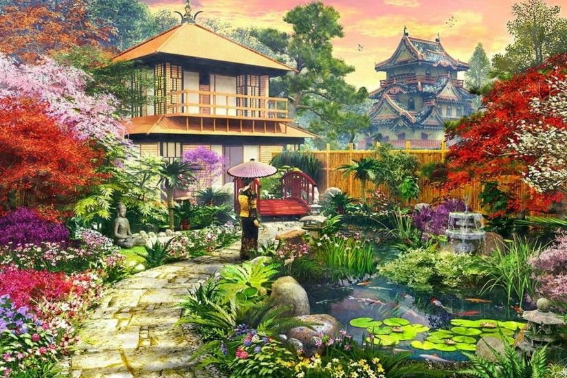 Splendid Japanese Garden wallpapers and stock photos