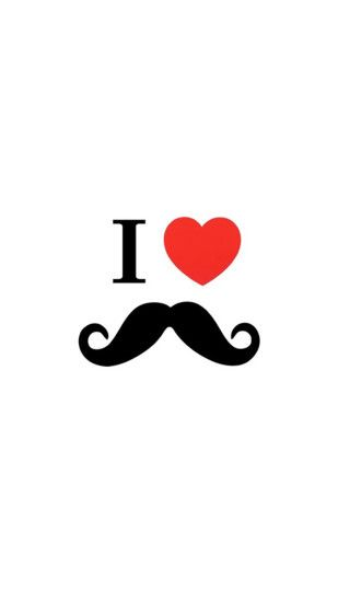 Minimalistic I Love Mustaches White Quotes Heart