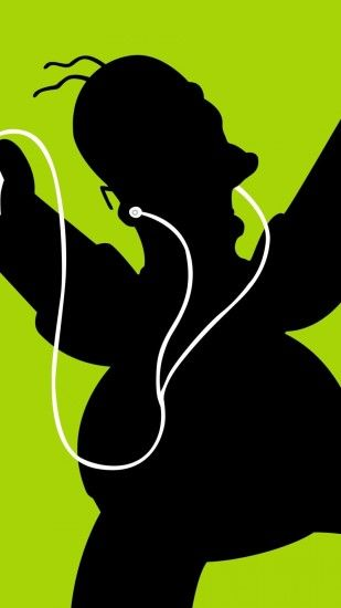 Homer Simpson Black Green Headphones iPhone 6 Plus HD Wallpaper ...