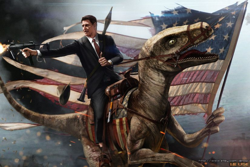 ... Ronald Reagan Riding a Velociraptor by SharpWriter