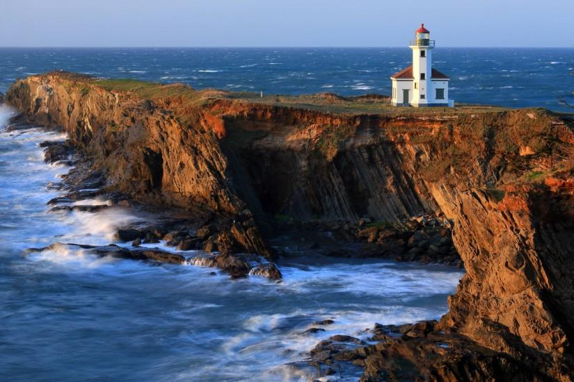 Download wallpaper cape arago lighthouse, lighthouse, coast, rocks .