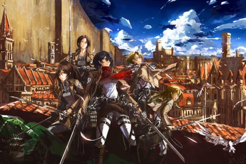 "A great bit of fan art featuring the female lead characters from ""Attack on  Titan"