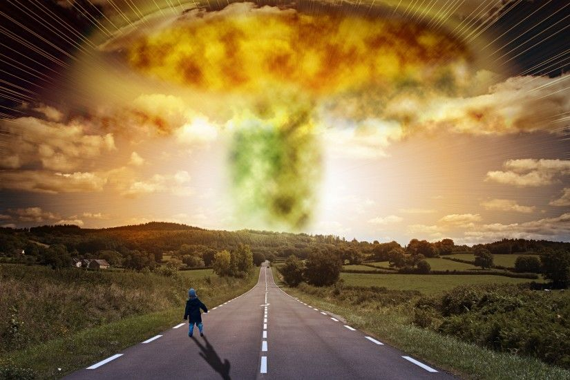 Road child explosion apocalypse signs houses trees apocalyptic nuclear  radiation bomb wallpaper | 2880x1800 | 126194 | WallpaperUP