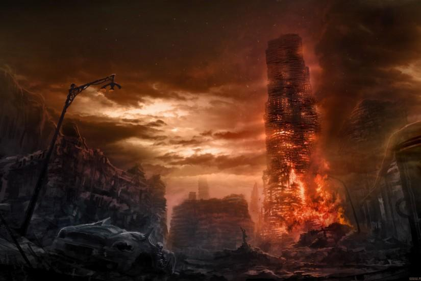 Romantically Apocalyptic Drawing Apocalypse Fire dark wallpaper .