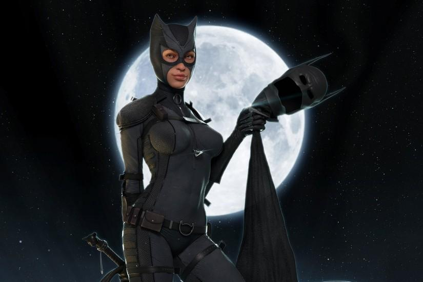 Catwoman, batman, black, catwoman, fantasy, moon, night, selina kyle