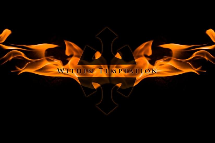 1920x1080 Wallpaper within temptation, name, fire, symbol, background