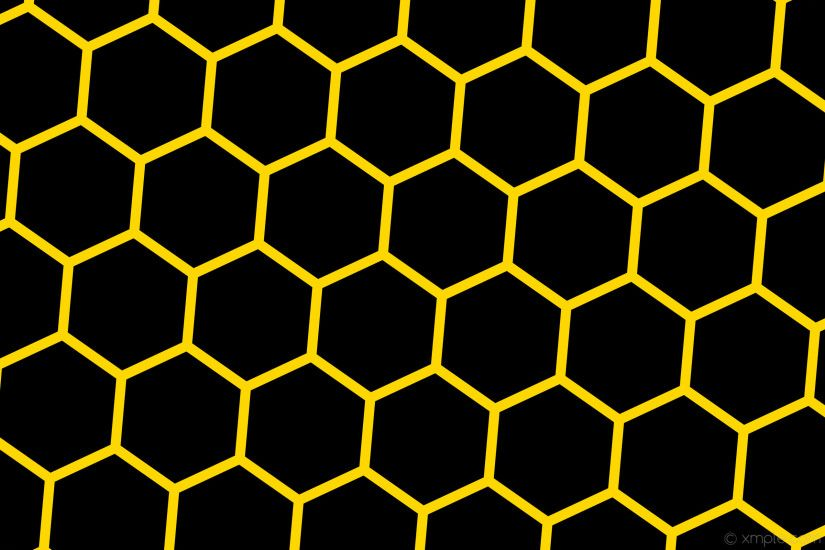 wallpaper beehive black yellow hexagon honeycomb gold #000000 #ffd700  diagonal 55° 31px 386px