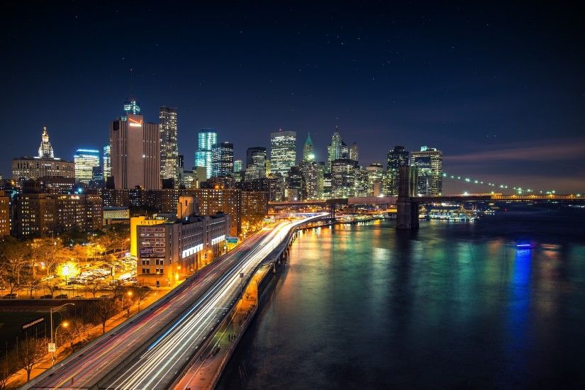 cityscape, New York City, Long Exposure, USA, Brooklyn Bridge, West Side  Highway, Night, Lights, City, Road, River, Bridge, Skyscraper, Stars, Light  Trails ...