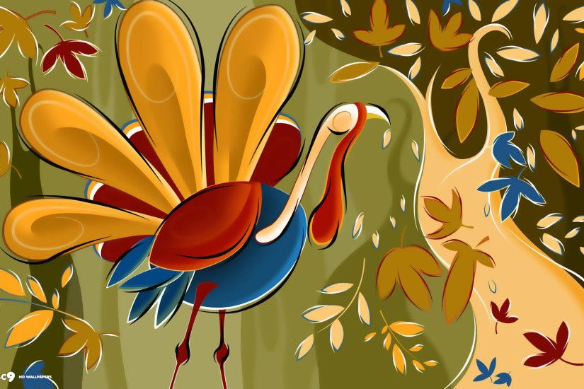 thanksgiving day turkey falling leaves artistic art holiday hd wallpaper