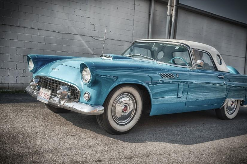 Preview wallpaper ford, thunderbird, 1956, blue, side view 3840x2160