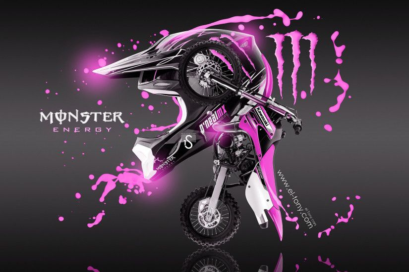 Monster Energy Fantasy Moto Kawasaki Pink Acid