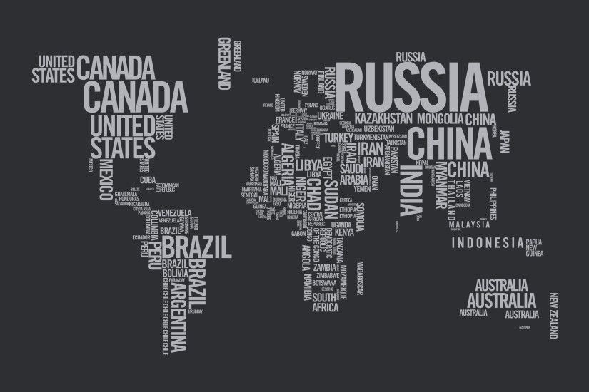 This typographic image is informational while also eye catching. Each  country is labeled while also