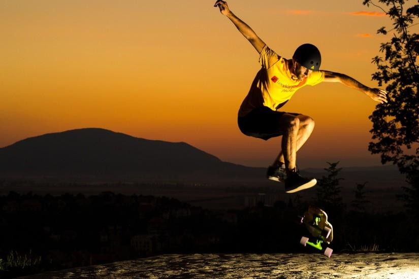 jump sunset skate helmet man skateboard skateboarding wallpaper