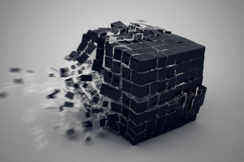 Black Real 3D Cube