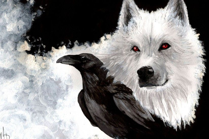 Drawn wallpapers White Wolf and Raven