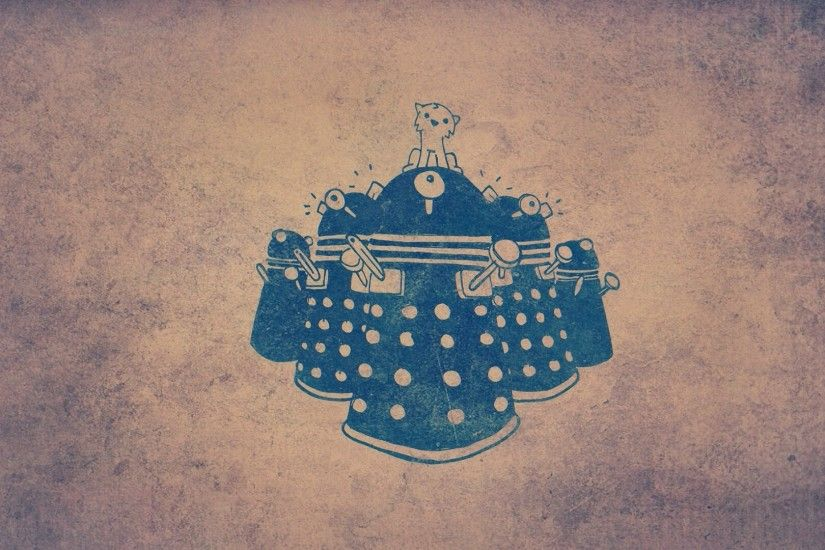 Dalek and the Cat HD Wallpaper