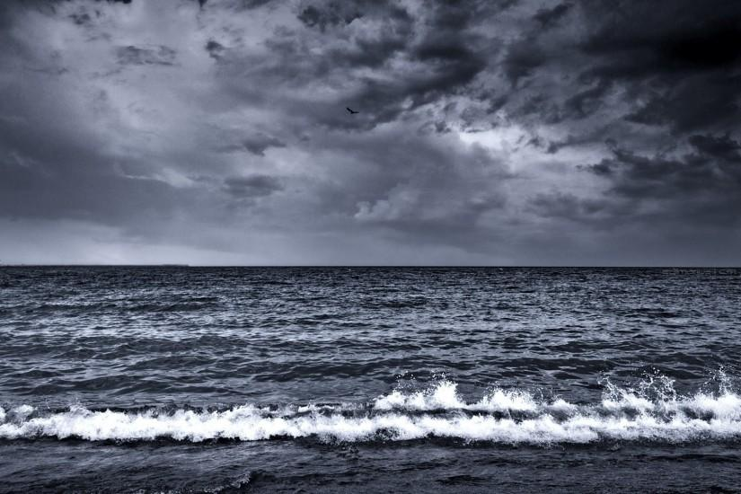 Preview wallpaper sea, waves, surf, foam, black and white 1920x1080