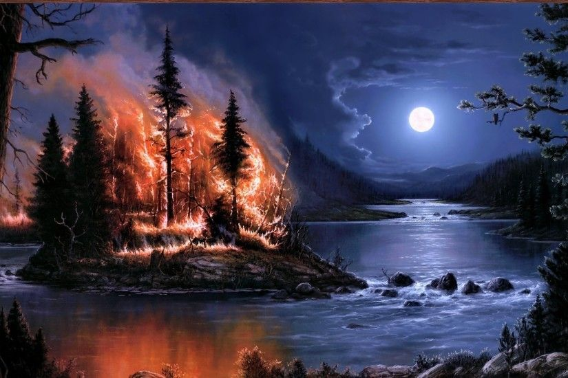 Preview wallpaper fire, full moon, night, river, wood, island, art