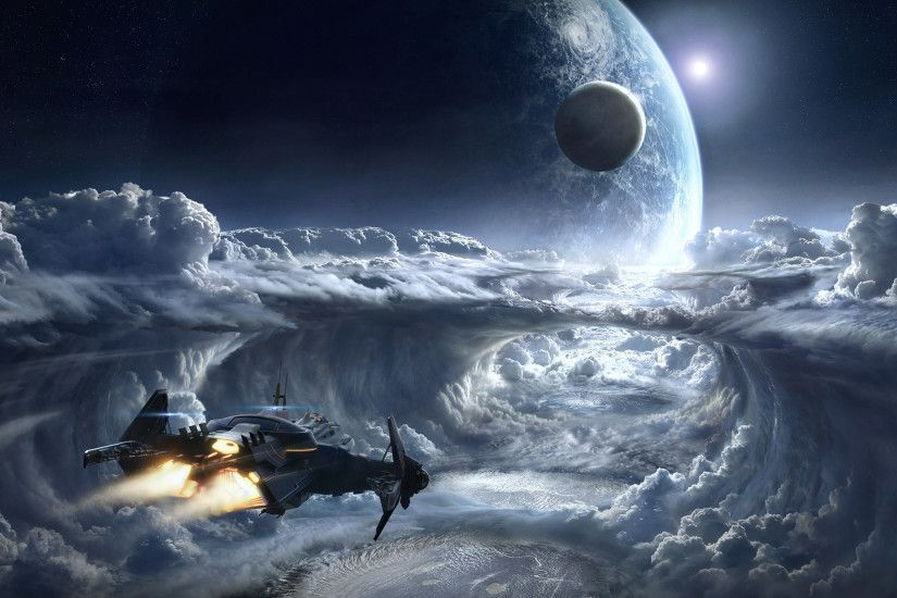 Wallpaper Star Citizen Planets Space Fantasy Games Ships Clouds 3840x2160