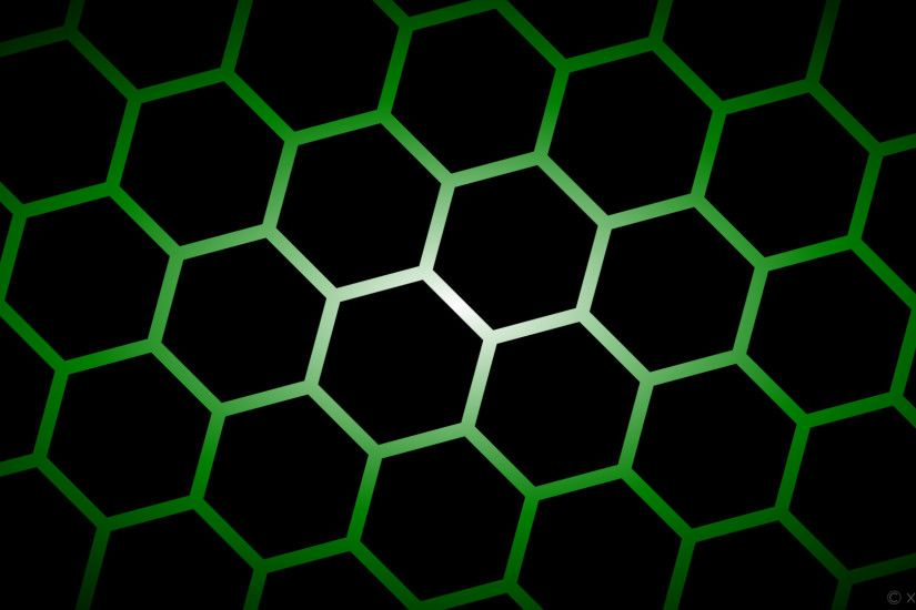 wallpaper glow hexagon green gradient white black #000000 #ffffff #008000  diagonal 45°