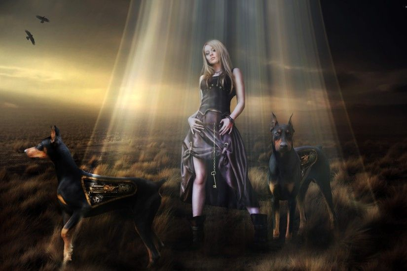 Steampunk girl and dobermans wallpaper