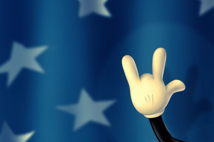 Preview wallpaper walt disney, mickey mouse, hand, fingers, background,  stars 2048x2048