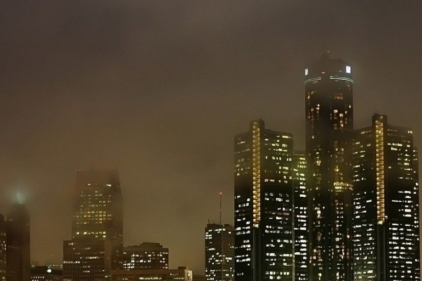 3840x1200 Wallpaper detroit, michigan, usa, america, night, view, lights,