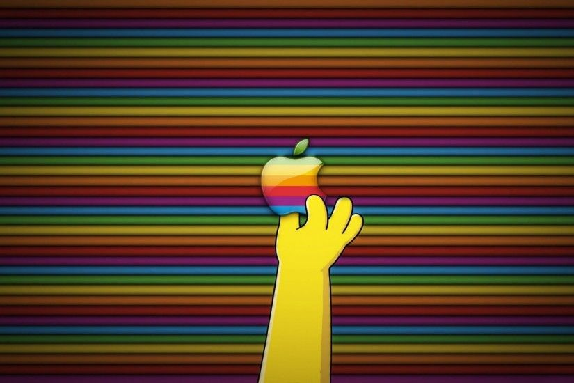 Homer Grabbing The Apple Logo
