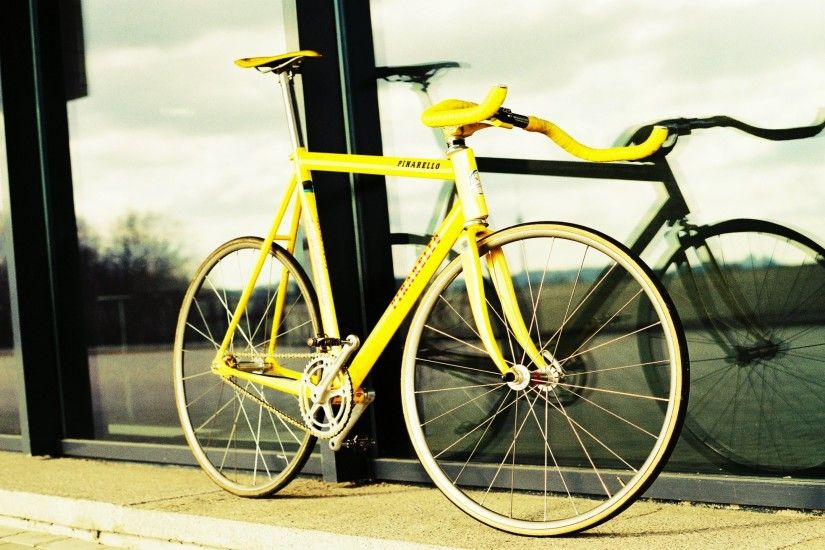 Yellow Fixed Gear Bikes