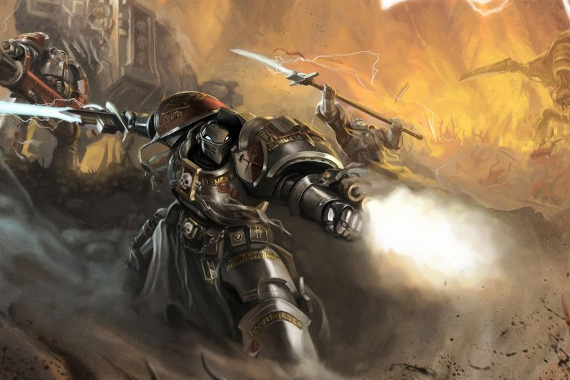 1920x1080 Wallpaper okita, warhammer 40k, space marines, robot, weapon,  sword,