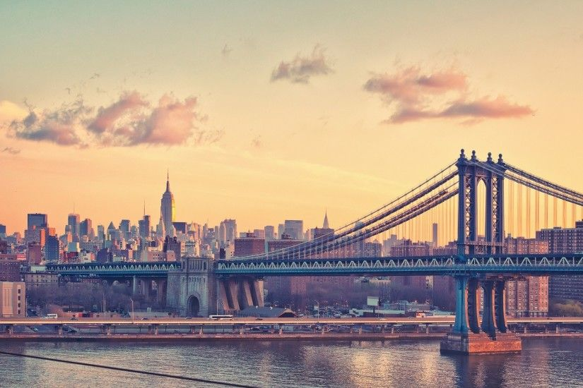 New York City Manhattan Bridge Clear Sky River HD Wallpaper