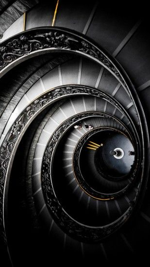 Abstract Black Round Staircase Android Wallpaper ...