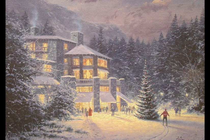 Thomas Kinkade Ocean Paintings | Thomas Kinkade - Christmas at the Ahwahnee
