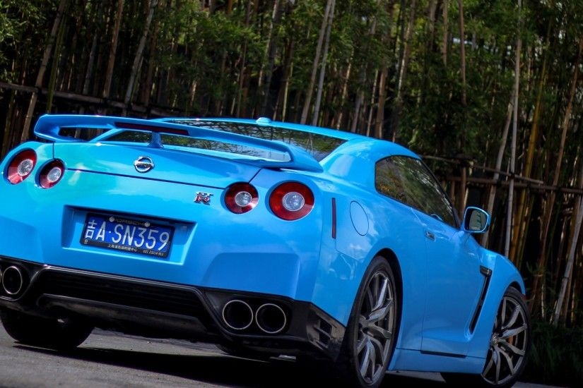 1920x1080 Wallpaper nissan, gtr, r35, bumper, blue, rear view