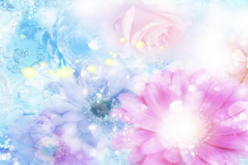 Preview wallpaper pink, blue, flowers, blurred, background, effects  1920x1080