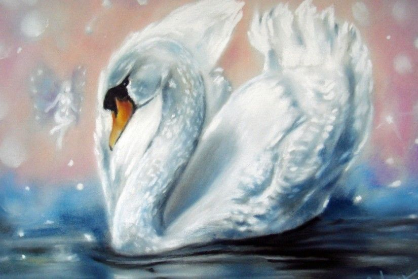 Painting swan white wings water fairy wallpaper | 2880x1800 | 136118 |  WallpaperUP