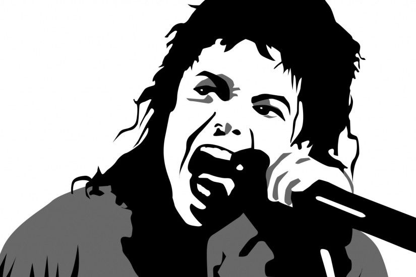 Preview wallpaper michael jackson, vector graphics, face, microphone,  singer, legendary 2048x1152