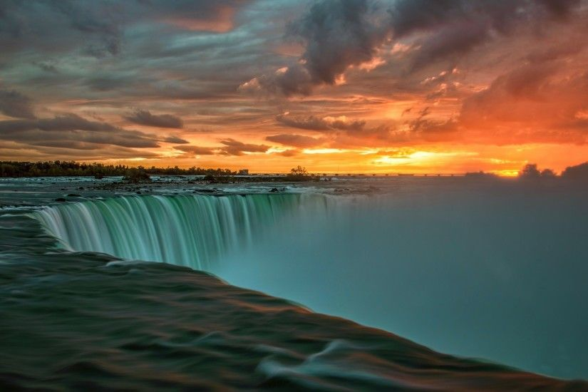 ... Landscape, Sunset, Clouds, Water, Niagara Falls, Waterfall, Long  Exposure, Trees, Stones, Canada, Ontario Wallpapers HD / Desktop and Mobile  Backgrounds