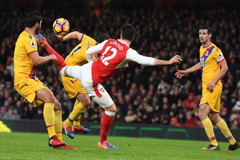 Watch Olivier Giroud's incredible Scorpion kick goal against Crystal Palace.